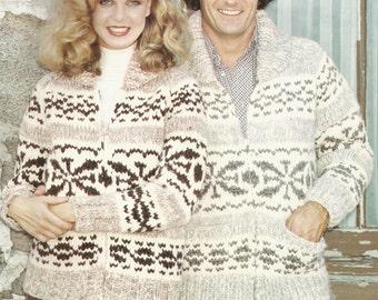 White Buffalo Pattern 14 Cowichan Salish sweater Knit cardigan Native Canadian hippy West coast sweater jumper pullover PDF knitting pattern