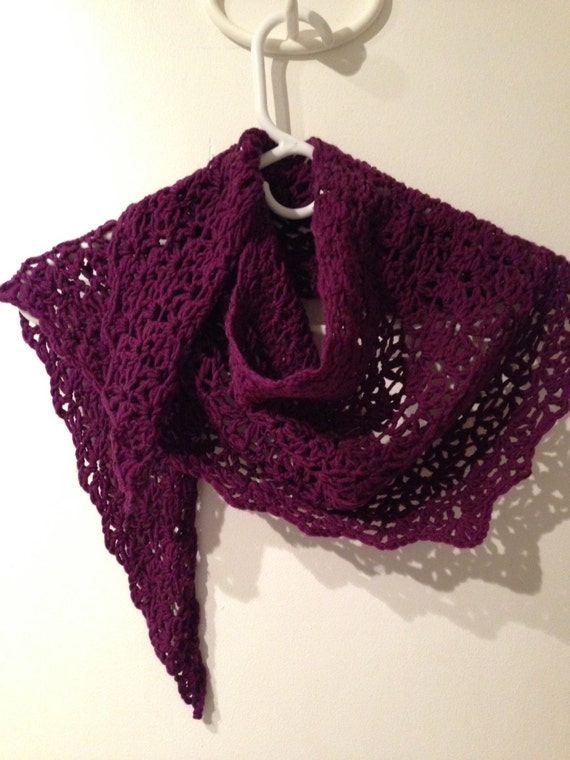 Burgundy Shawlette that can be worn as a neck-warmer as well...