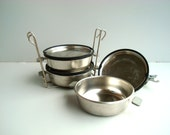 Vintage Camping Dish, Food containers, metal canister set Soviet USSR army picnic bowls 1980s era