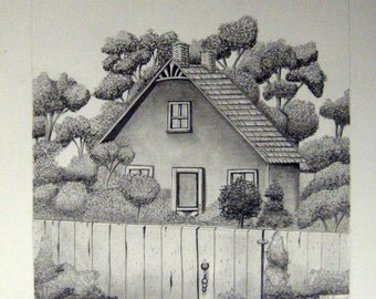 Summer Cottage Pencil Drawing