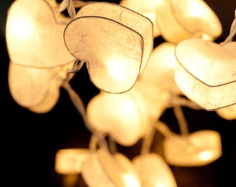 20 Bulbs White Heart Paper Lantern String Lights for Party Wedding and Decorations