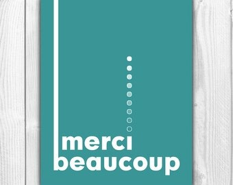 French Quote Merci Beaucoup Print - Thank You Sign Printable - Thank You Card / Gift - Mid Century Modern Typography Art - Instant Download