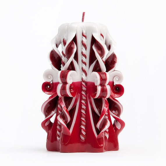 Carved Candles Red Candles Decorative candles by AmeliaCandles
