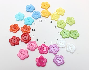 50 pcs Resin Buttons, Flower, 2 Hole, Mixed Color, 14mm