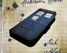 Doctor Who inspired Tardis phone booth police box - iPhone 4/4s case, iPhone 5/5s/5c case, Galaxy S3/S4 case leather wallet flip cover