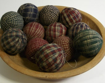 "12 Primitive Country 2"" Homespun Fabric Rag Balls Ragballs Navy, Green, Burgundy Ball Jar Bowl Basket Filler"