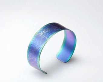 Anodized Titanium Cuff Bracelet, Titanium Bracelet - Purple Cuff, Statement Jewelry, Giampouras Collections