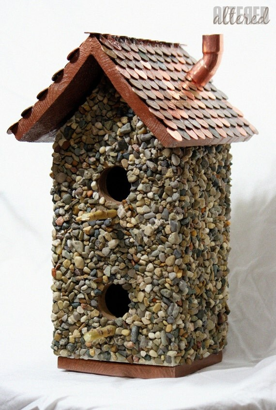 Items similar to stone and wood birdhouse with a roof made for Diy stone birdhouse