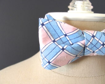 pink & blue argyle mens bow tie