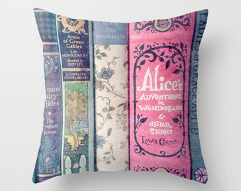 A Perfect Library Pillow- INSERT INCLUDED - Books, Decor, Bedding, Nursery, Girl's Room, Jane Austen, Alice in Wonderland, Fairy Tales, Pink