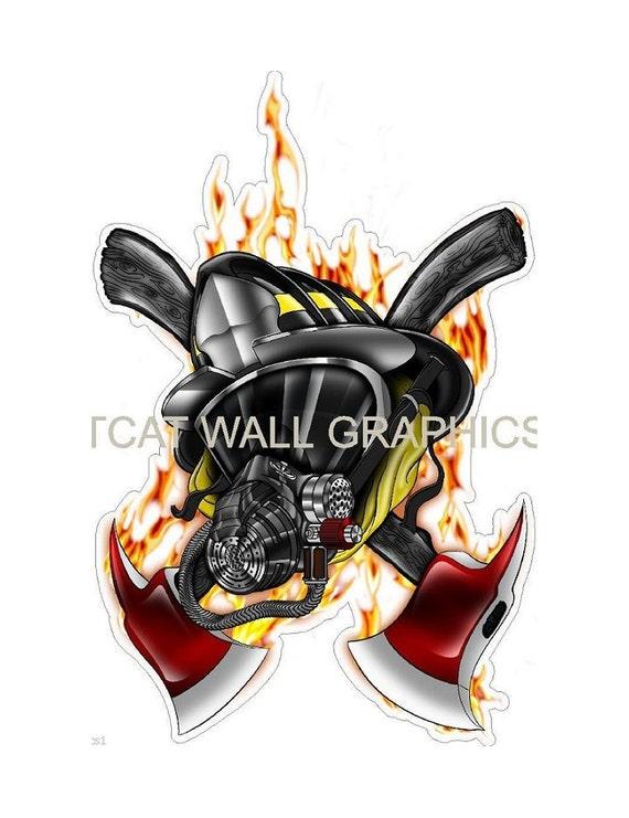6 Fireman Firefighter Hero Axe Logo Wall Decal By