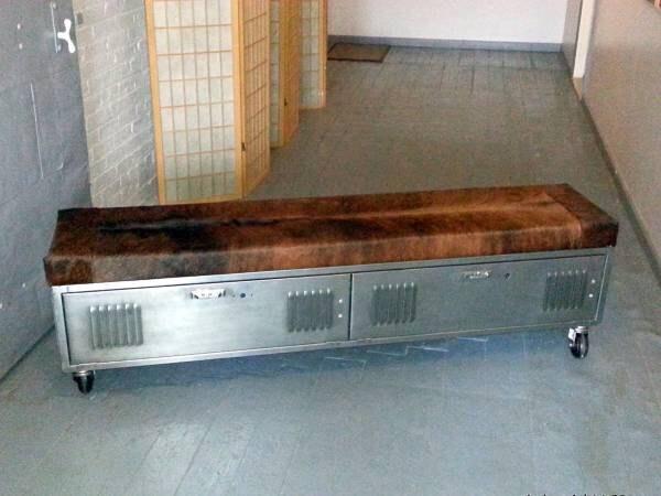 Vintage Steel Locker Storage Bench