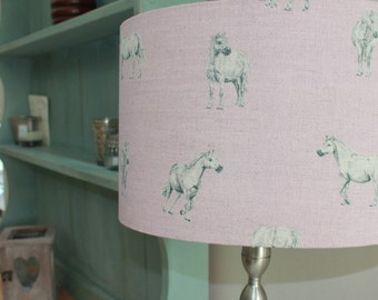 Ponies Prancing Handmade Linen/Cotton Lamp Shade