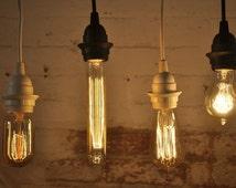 Cord Set With Bulb Socket E26 15 Feet Black or White Ceiling Pendant Light
