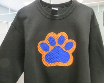 Adult or Children Hand Made Applique Paw Sweatshirt, long-sleeve t-shirt, or short-sleeve t-shirt in the color of your choice.