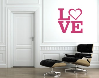 Love Square Wall Decal-Removable Wall Art Sticker-Multiple Colors