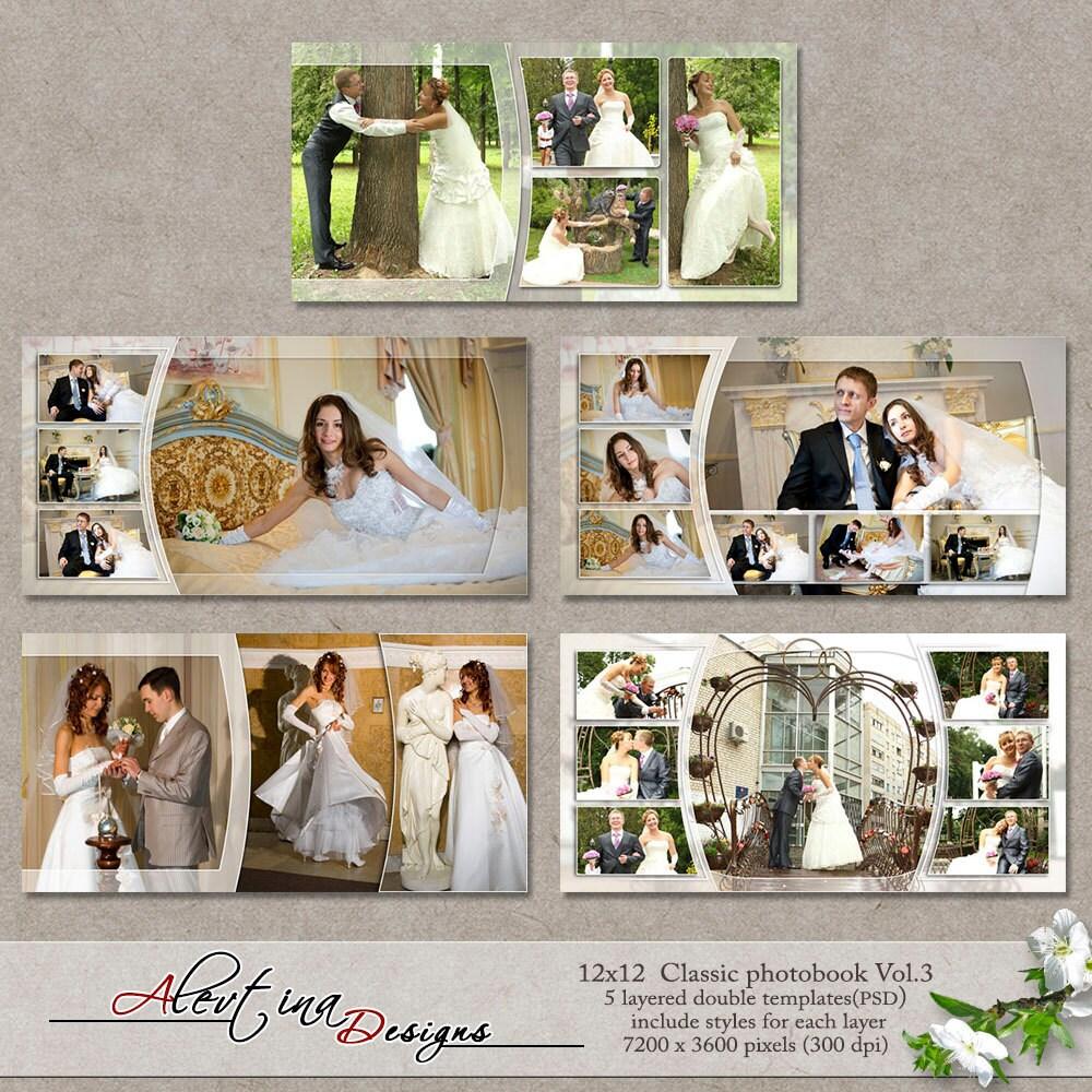 Classic Wedding Album Design: 12x12 Templates Classic Photobook Vol.3 PSD 5 By
