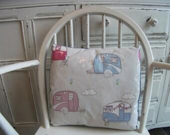 Garden Cushion. Caravan Pillow. PVC. Outdoor, outside. Yard, gardens. Caravans. Pastel. Retro caravans.