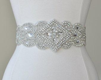 Rhinestone Crystal Beaded Bridal Sash, Wedding Dress Belt, Wedding Sash