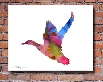 Mallard Duck Art Print - Abstract Watercolor Painting - Wildlife Wall Decor