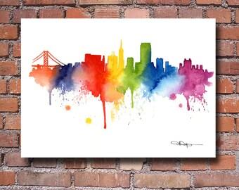 San Francisco Skyline Art Print - Watercolor - Wall Decor