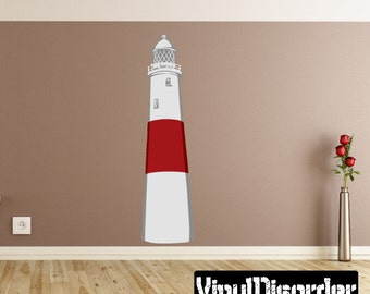 Lighthouse Wall Decal - Wall Fabric - Vinyl Decal - Removable and Reusable - BeachUscolor012ET
