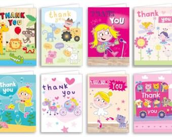 40 x Children's Thank You Cards - Mermaid/Ballerina/Princess/PopStar/Safari/Farmyard