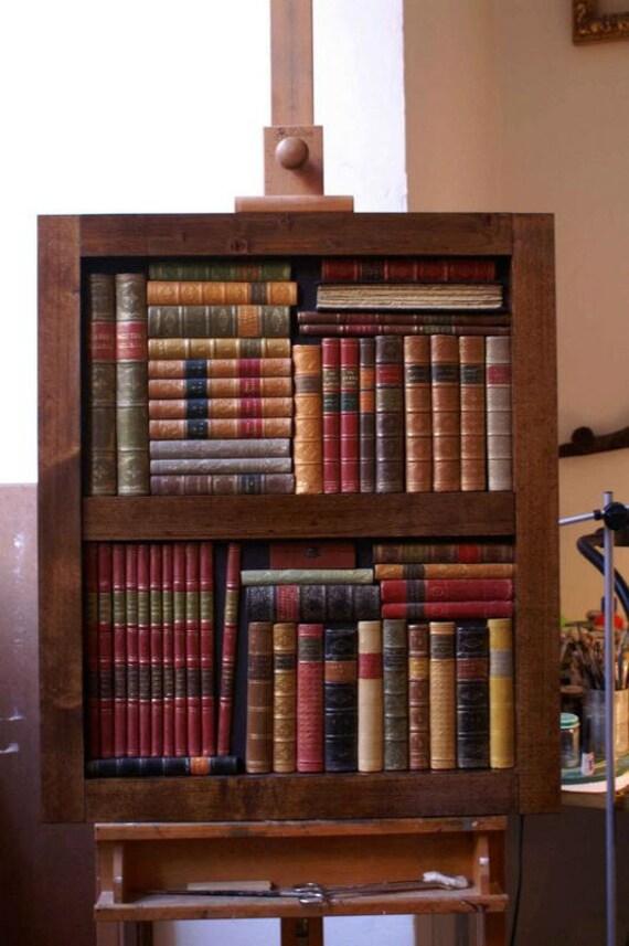 Articoli simili a pannelli di finti libri antichi su for Libri finti ikea