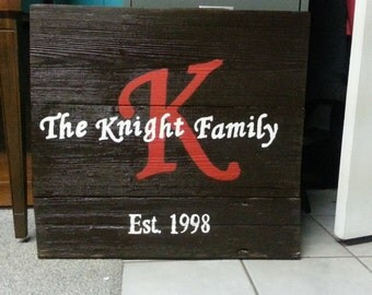 The Knight Family wood sign