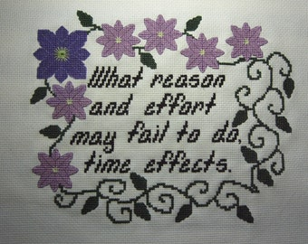 Gothic Novel Cross Stitch Pattern Mysteries of Udolpho Quote Ann Radcliffe Purple Clematis Vines Time Inspirational Quote Instant Download