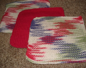 Dishcloths- Hand-knit Set of 3 in Pink, Green and Purple