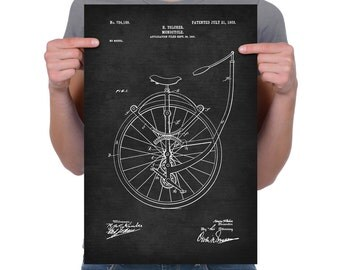 """Vintage 1903 """"Monocycle"""" Patent Drawing, Retro Art Print Poster, Canvas, Wall Art, Home Decor, Bicycle, Gift Idea"""