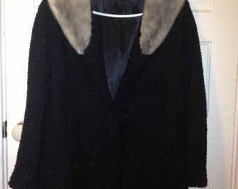 Black Coat with Fur collar- Evans Furs from Macy's Vintage