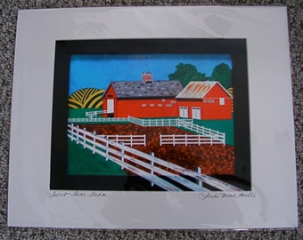 """Giclee Print;  """"SWEET TREE FARM"""" Signed, matted 16x20"""