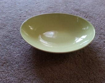 Vintage Pebbleford Yellow Speckled 1950s Oval Serving Bowl