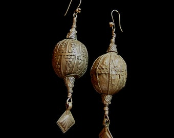 Vintage, Yemen Tribal  silver beads (33mm) and dangles, 3 1/2 inches long, lovely detail and artistry. 4 inches