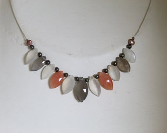 Multicoloured moonstone marquise necklace
