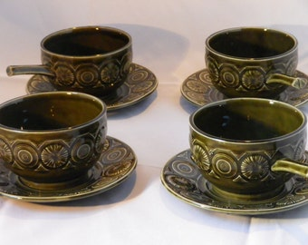 A set of 4 'TAMS' Soup Bowls with Saucers 1970s