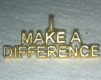 """VIntage Rare Gold tone """"I MAKE A DIFFERENCE"""" Pin Brooch  1980s"""
