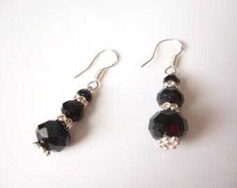 Black Crystal Earrings,  Sterling Silver Earrings, Dangle Earrings, Bridesmaid