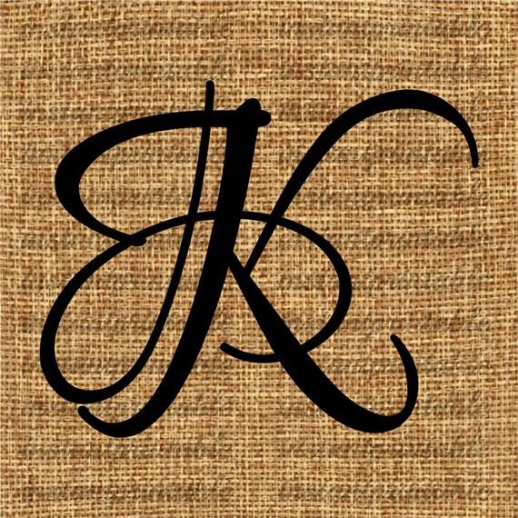 Monogram Initial Letter K Letter Clip Art Letter Decal