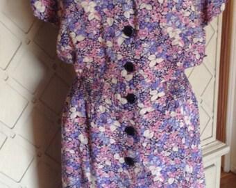 1980s Vintage Floral Secretary Dress