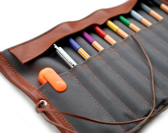 Canvas & leather-pencil role pencil case grey
