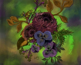 """Floral painting print, Original digital painting """"Purple Pansy on Green"""" A square floral painting with purple Pansies on bright green."""