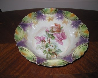 Enter Coupon Code DISCOUNT20 for 20% Off - RS Prussia Floral Serving Bowl With Long Stemmed Roses
