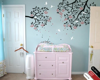 Modern nursery branches wall decal vinyl wall sticker two piece branch wall mural 049