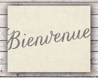 Bienvenue Printable Art Print Instant Digital Download Typography Art Print French Quote Art Print France Francophile Home Decor Wall Art