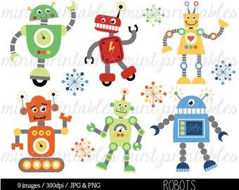 Robot Clipart, Digital Robots Clip Art, Birthday Clipart, Robot Party, Retro Robot Clipart - Commercial & Personal - BUY 2 GET 1 FREE!