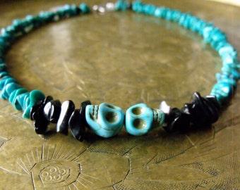 Mens turquoise skull necklace, mens skull necklace, skull necklace, turquoise necklace, day of the dead necklace, skull jewelry, skull