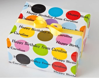 Custom Wrapping Paper for Birthday Parties. Personalized Letterpress Gift Wrap
